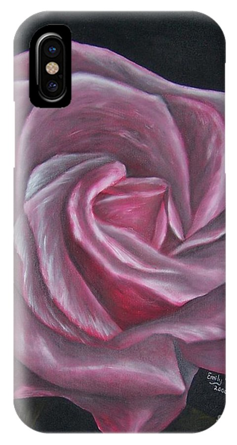 Rose IPhone Case featuring the painting Pink Rose by Emily Young