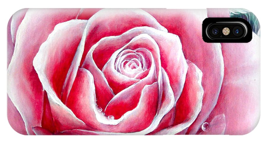 Rose IPhone X Case featuring the painting Pink Rose Flower by Sofia Metal Queen