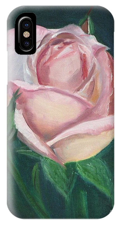 Rose IPhone X Case featuring the painting Pink Rose by Mendy Pedersen