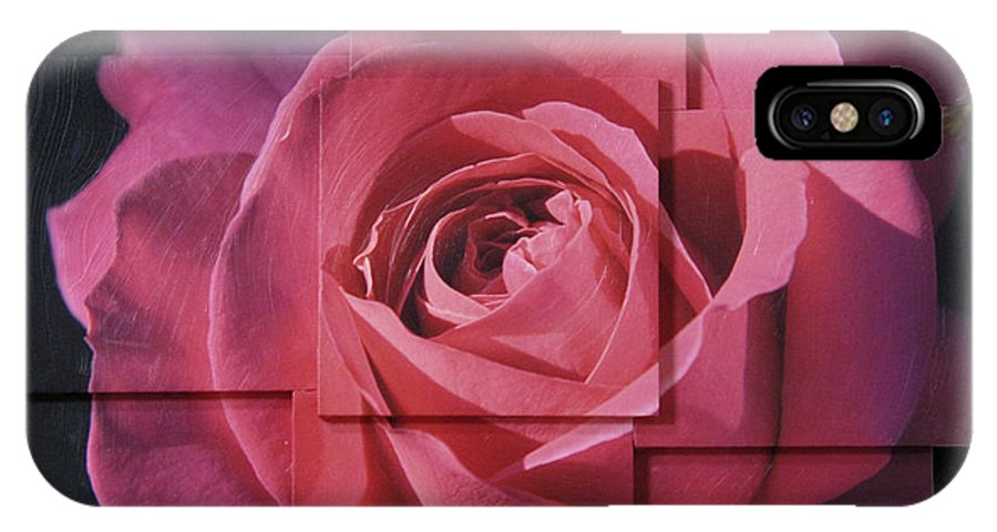 Rose IPhone X Case featuring the sculpture Pink Rose Photo Sculpture by Michael Bessler