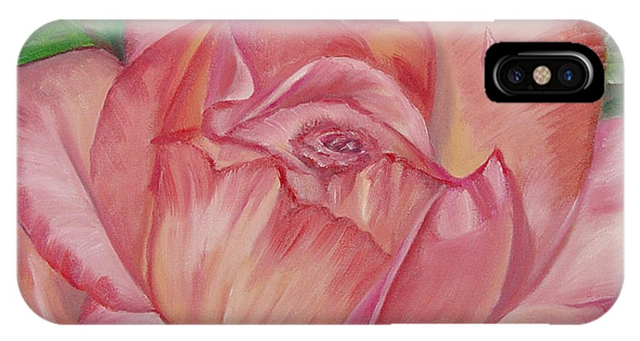 Flower IPhone X / XS Case featuring the painting Pink Rose by Quwatha Valentine