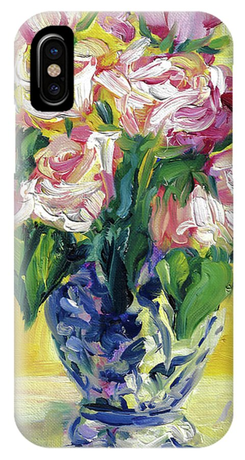 Oil Painting Of Roses IPhone X Case featuring the painting Pink Roses In Blue Deft Vase by Jacki Kellum