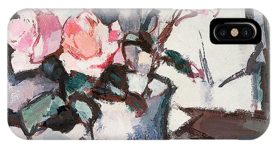 Pink IPhone X Case featuring the painting Pink Roses by Samuel John Peploe