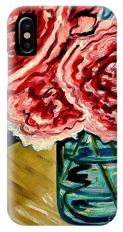 Floral IPhone X Case featuring the painting Pink Ruffled Peonies by Elizabeth Robinette Tyndall