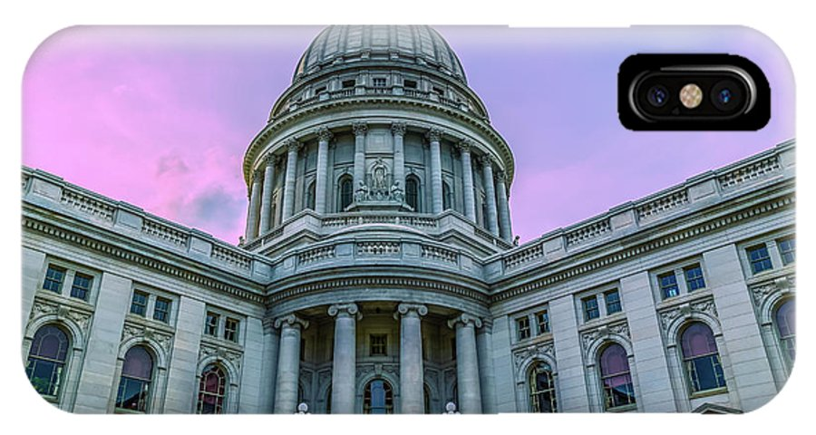 Capitol IPhone X Case featuring the photograph Pink Sky On The Square by Rockland Filmworks