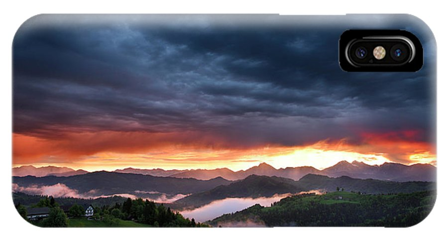 Sunrise IPhone X Case featuring the photograph Pink Sunrise And Blue Clouds In The Mountains Of Kamnik Savinja by Reimar Gaertner