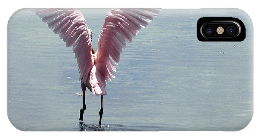 Roseate Spoonbill IPhone X Case featuring the photograph Pink Wings by Kimberly Mohlenhoff