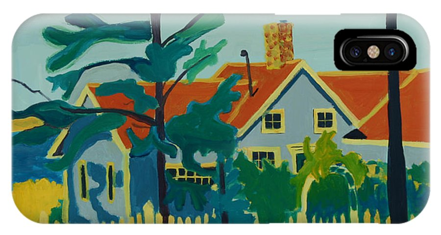 Beach IPhone X / XS Case featuring the painting Pinkys House On Pemaquid Point by Debra Bretton Robinson