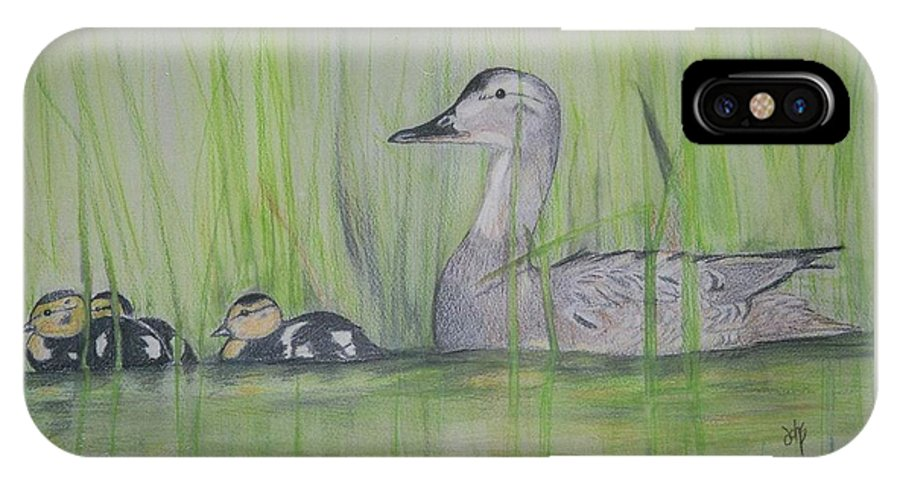 Pintail Ducks IPhone X Case featuring the painting Pintails In The Reeds by Debra Sandstrom