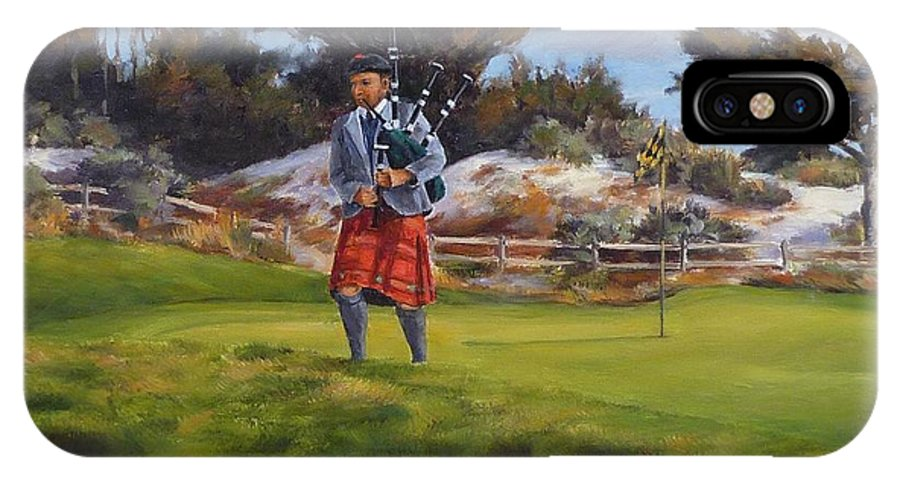 Spanish Bay IPhone X / XS Case featuring the painting Piper At Spanish Bay by Shelley Cost
