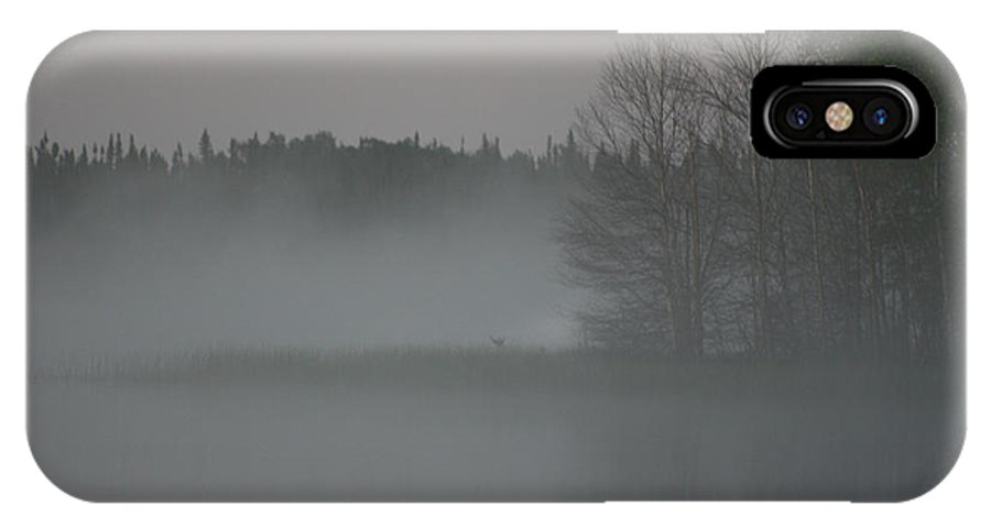 Lake Water Forest Camp Mist Trees Saskatchewan IPhone X Case featuring the photograph Piprell Lake 4 Am Mist by Andrea Lawrence