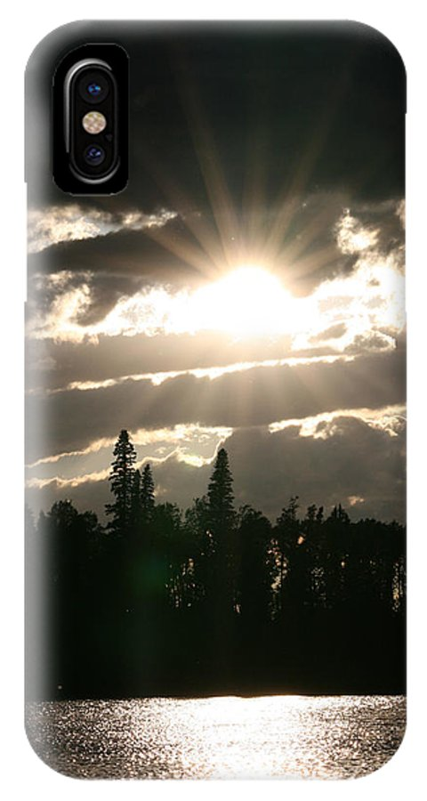 Sunset Water Lake Forest Trees Sun Clouds IPhone X Case featuring the photograph Piprell Lake Saskatchewan by Andrea Lawrence