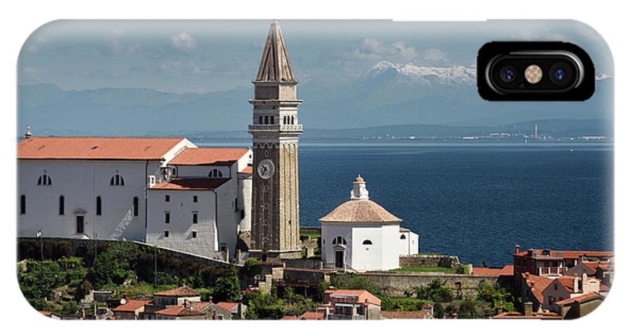 Piran IPhone X Case featuring the photograph Piran Slovenia With St George's Cathedral Belfry And Baptistery by Reimar Gaertner