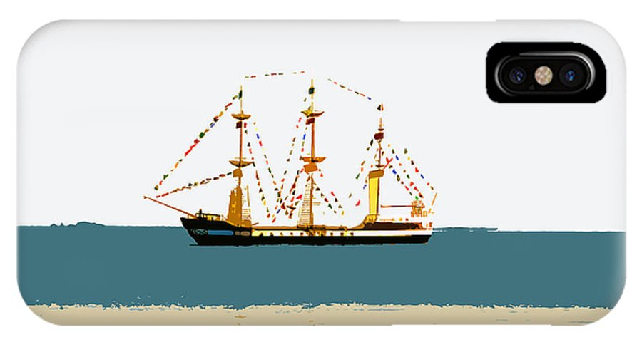 Pirate Ship IPhone X Case featuring the painting Pirate Ship On The Horizon by David Lee Thompson