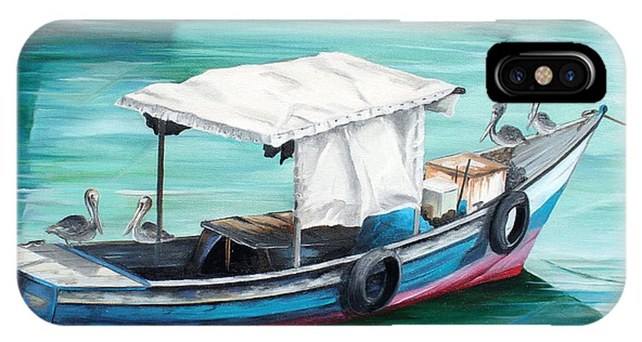 Fishing Boat Painting Seascape Ocean Painting Pelican Painting Boat Painting Caribbean Painting Pirogue Oil Fishing Boat Trinidad And Tobago IPhone X Case featuring the painting Pirogue Fishing Boat by Karin Dawn Kelshall- Best