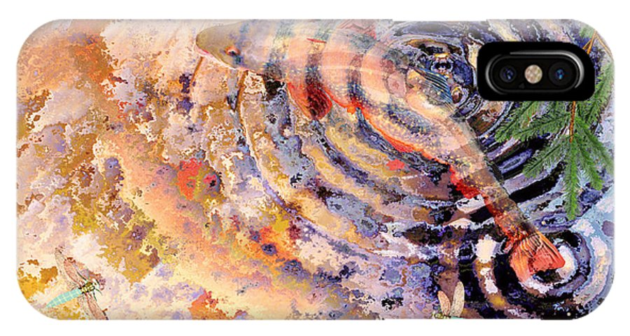 Pond IPhone X Case featuring the painting Pisces by Peter J Sucy
