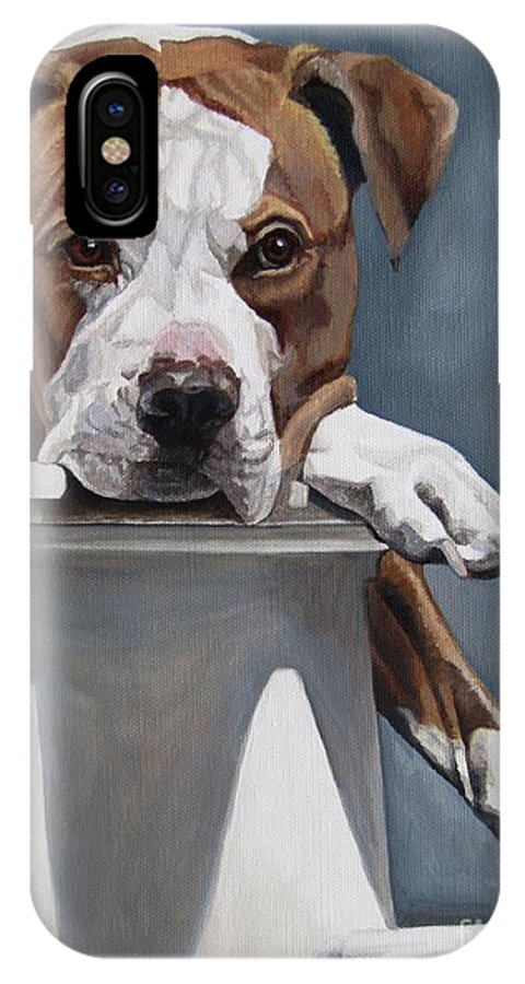 Pit Bull IPhone X Case featuring the painting Pitbull Stare by Heidi Parmelee-Pratt