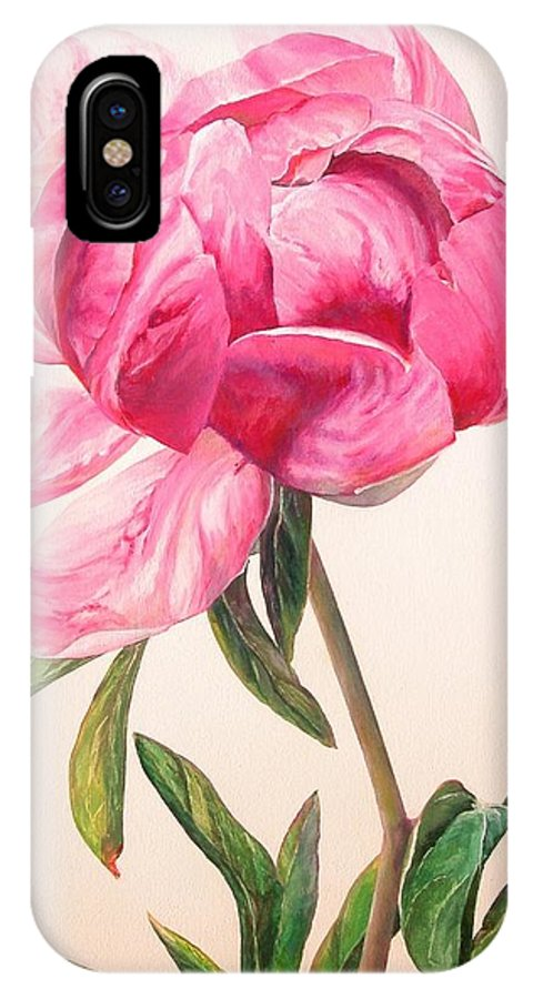 Floral Painting IPhone X Case featuring the painting Pivoine 1 by Muriel Dolemieux