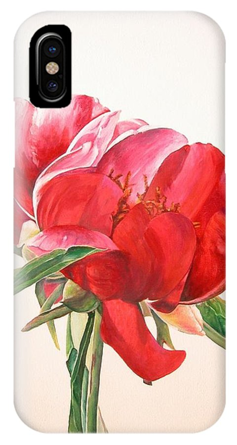 Floral Painting IPhone X Case featuring the painting Pivoine 2 by Muriel Dolemieux
