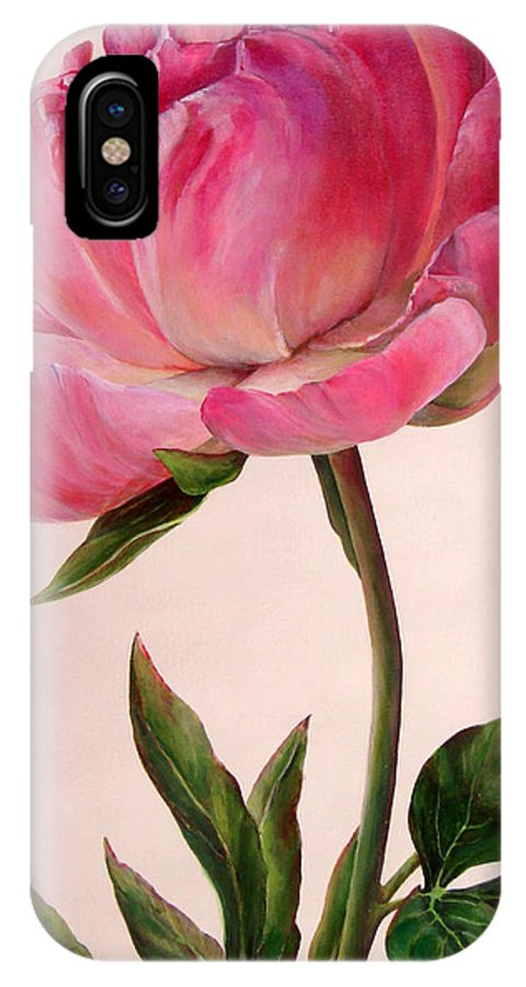 Floral Painting IPhone X Case featuring the painting Pivoine by Muriel Dolemieux