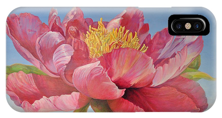Floral Painting IPhone X Case featuring the painting Pivoine Ouverte by Muriel Dolemieux