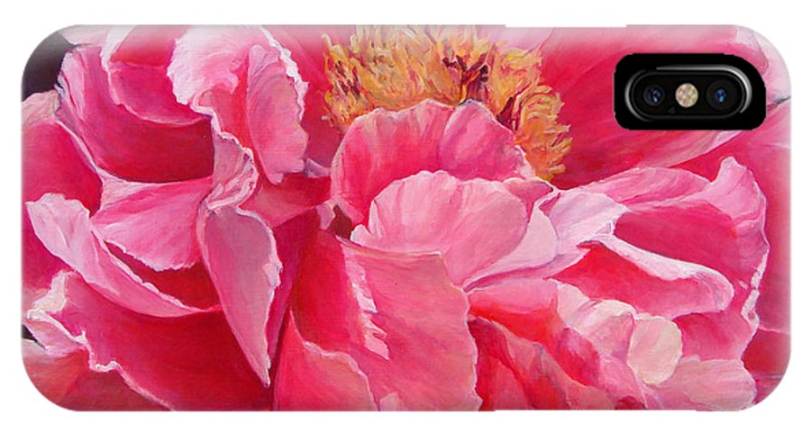 Floral Painting IPhone X Case featuring the painting Pivoine Rose by Muriel Dolemieux