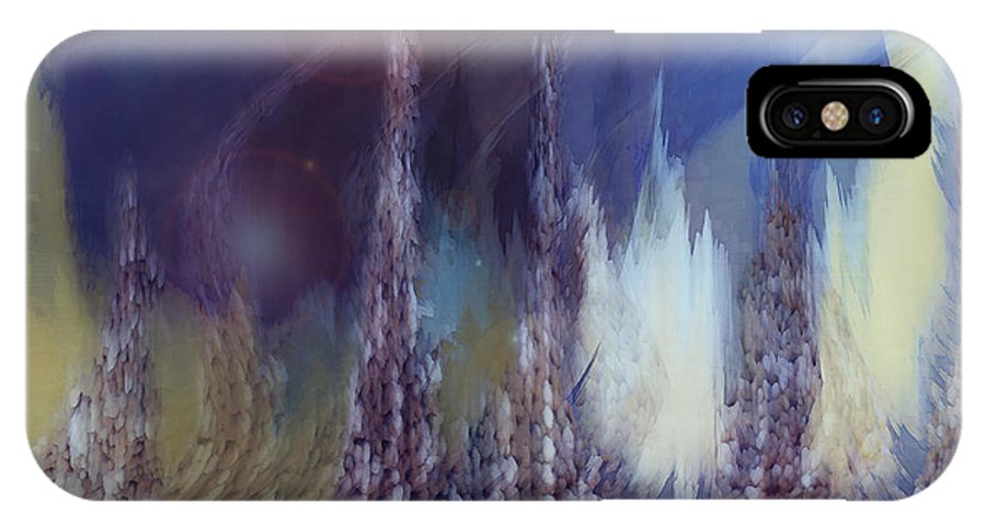 Abstract IPhone X Case featuring the digital art Pixel Dream by Linda Sannuti