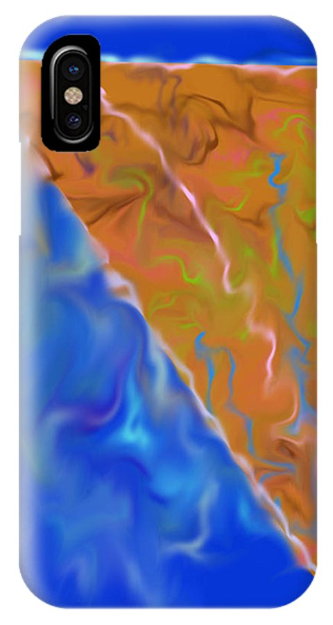 Abstract IPhone X Case featuring the digital art Pizza Pie by John Krakora
