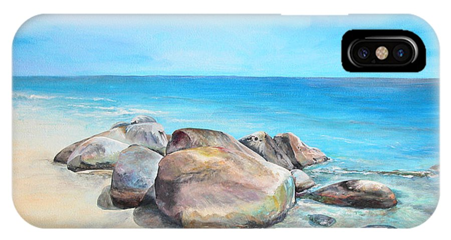 Paysage IPhone X Case featuring the painting Plage by Muriel Dolemieux