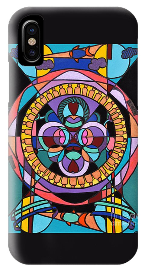 Surreal - Dream Works-mandala IPhone X Case featuring the painting Planet Earth by Reb Frost