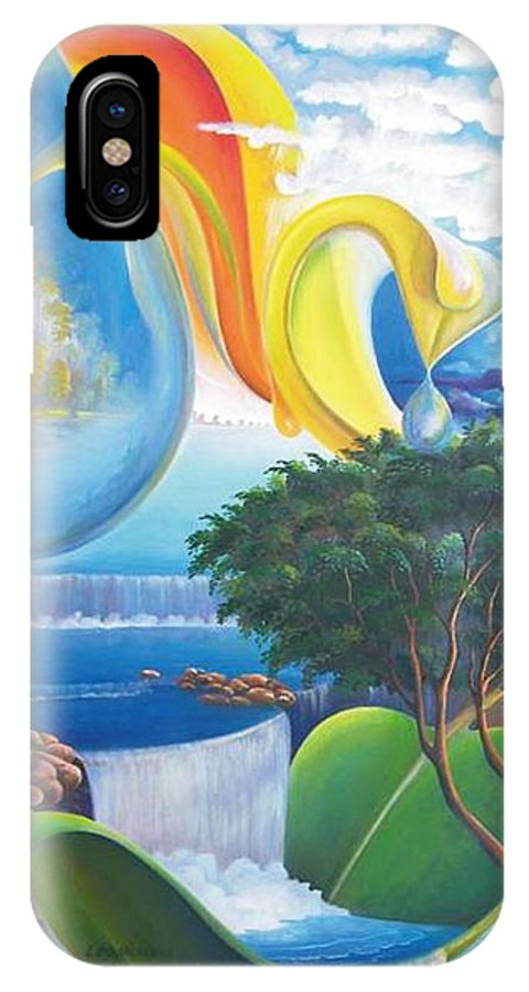 Surrealism - Landscape IPhone X Case featuring the painting Planet Water - Leomariano by Leomariano artist BRASIL