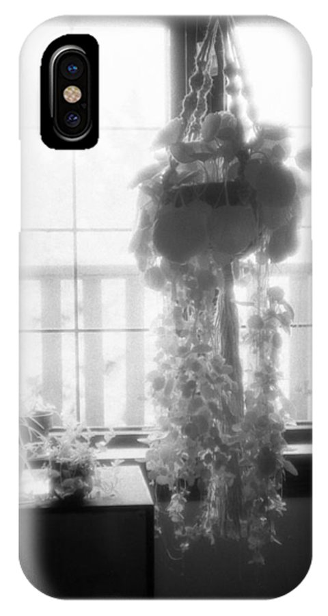 Black And White IPhone X Case featuring the photograph Plant In The Window by Lyle Crump