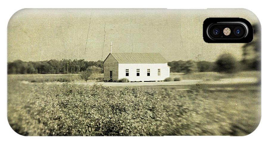 Church IPhone X Case featuring the photograph Plantation Church - Sepia Texture by Scott Pellegrin