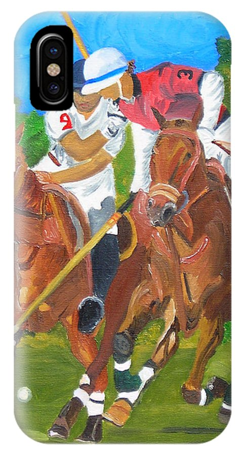 Polo IPhone X Case featuring the painting Play In Motion by Michael Lee