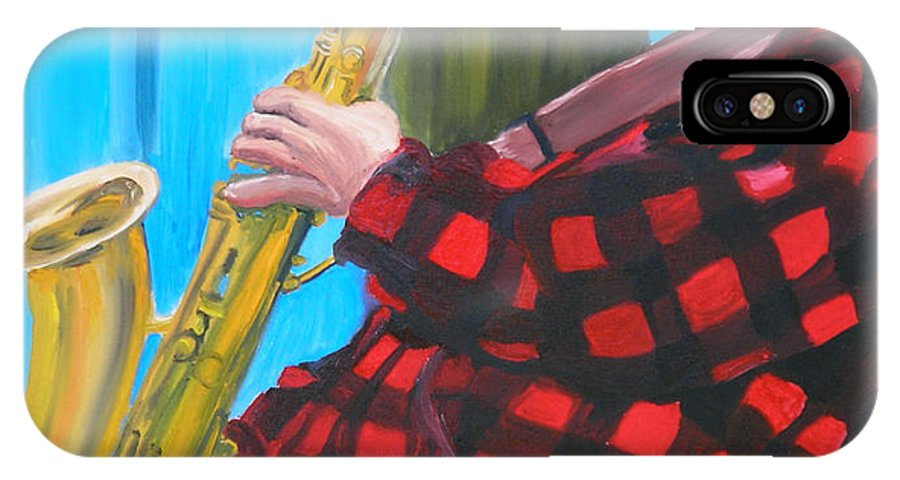 Sax Player IPhone Case featuring the painting Play It Mr Sax Man by Michael Lee