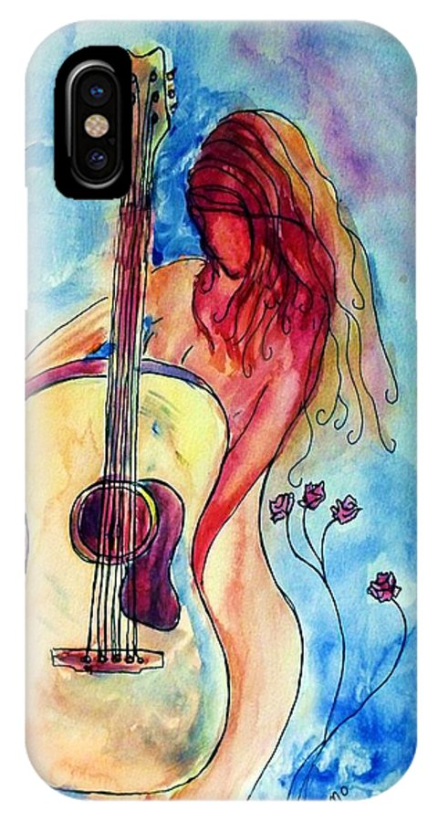 Guitar IPhone X Case featuring the painting Play Me A Song by Robin Monroe