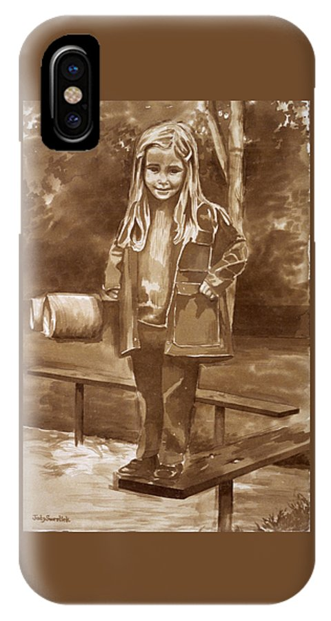 Little Girl On Bench In Park IPhone X Case featuring the painting Playground 2 by Judy Swerlick