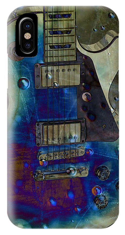 Guitars IPhone X Case featuring the photograph Playin The Blues by Jan Amiss Photography