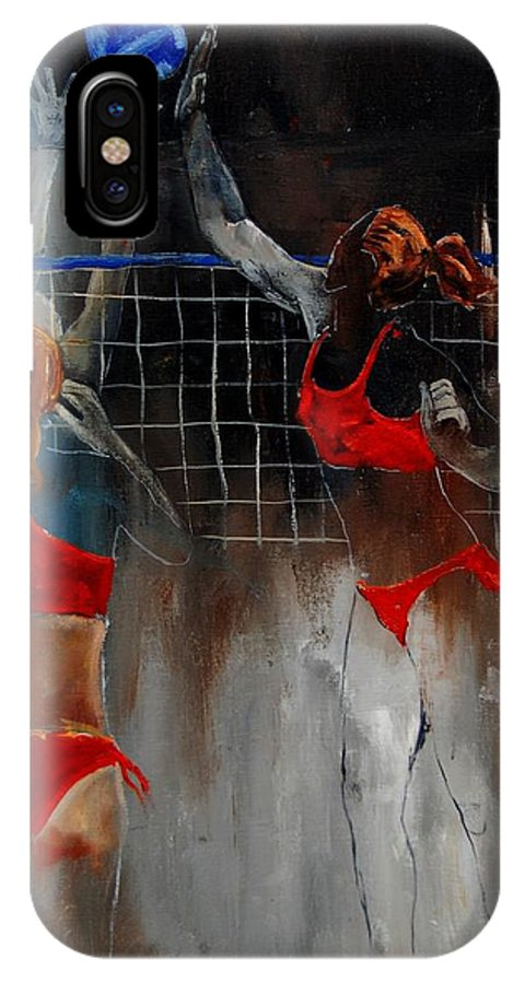 Sport IPhone Case featuring the painting Playing Volley by Pol Ledent