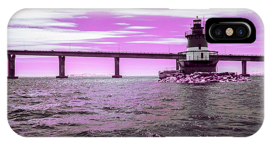 Plum Beach Island Lighthouse Light House Atlantic Ocean Sea Oceanside Seaside Rhode Island Ri Water Waterscame Jamestown Bridge Rt138 138 Rt Route Architecture Ir Infra Red Infrared 590nm 590 Nm Nanometer Purple Pink Brian Hale Brianhalephoto IPhone X Case featuring the photograph Plum Beach Lighthouse In Ir by Brian Hale