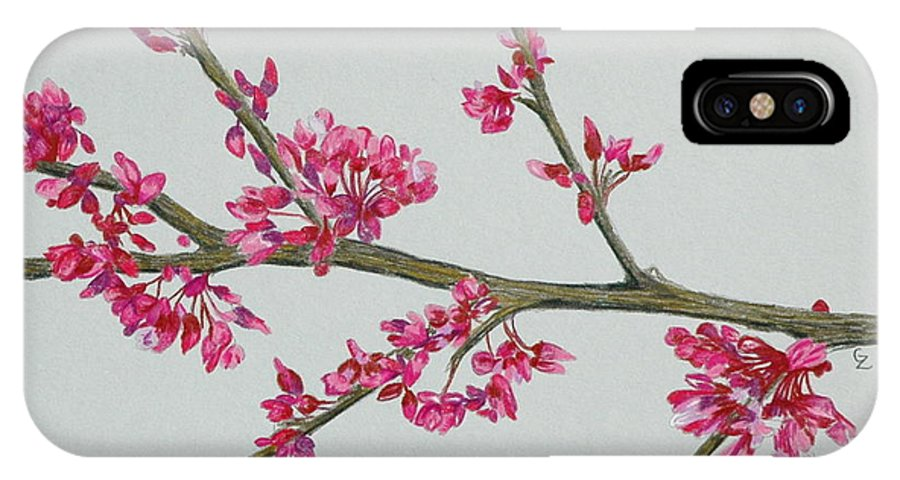 Color IPhone X Case featuring the drawing Plum Blossom by Glenda Zuckerman