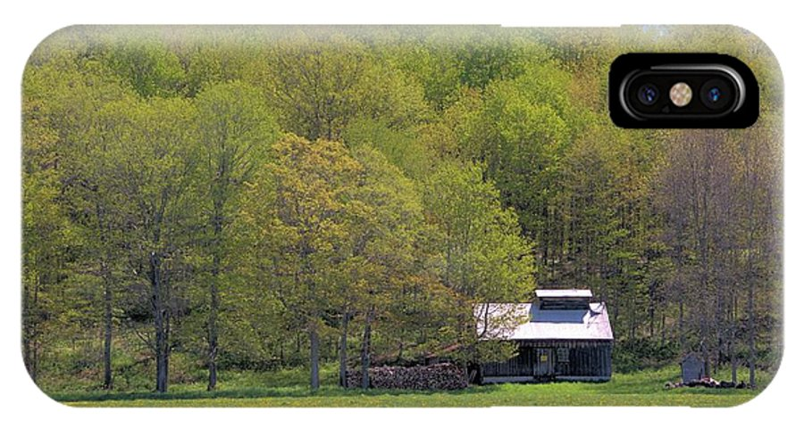 Sugar Shack IPhone X Case featuring the photograph Plum Hollow Sugar Shack In Spring by Valerie Kirkwood
