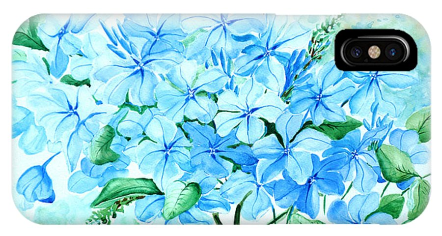 Floral Blue Painting Plumbago Painting Flower Painting Botanical Painting Bloom Blue Painting IPhone X Case featuring the painting Plumbago by Karin Dawn Kelshall- Best