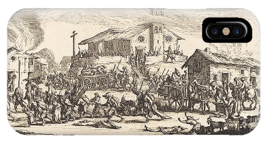 IPhone X Case featuring the drawing Plundering And Burning A Village by Jacques Callot