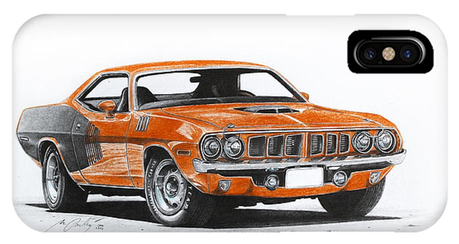 1973 Plymouth Barracuda IPhone X / XS Case featuring the drawing Plymouth Barracuda 1973 Hemi Cuda by Miro Porochnavy