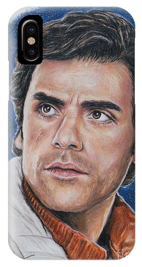 Poe Dameron IPhone X Case featuring the drawing Poe Dameron by Christine Jepsen