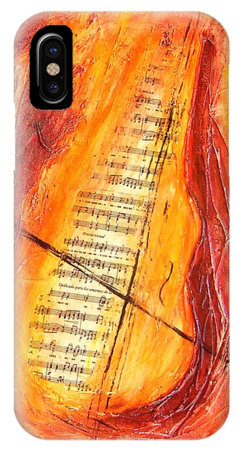 Music IPhone X Case featuring the painting Poesial Visual by Ivan Guaderrama