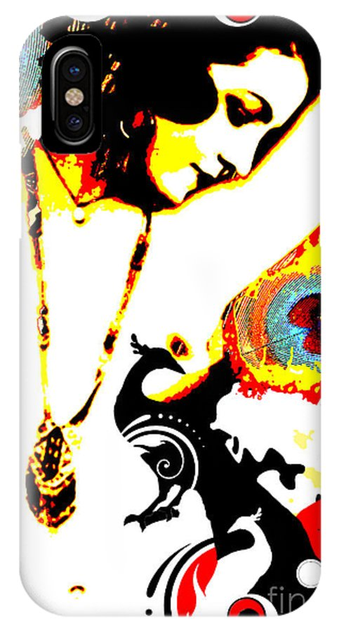 Nostalgic Seduction IPhone X Case featuring the digital art Poetic Peacock by Chris Andruskiewicz