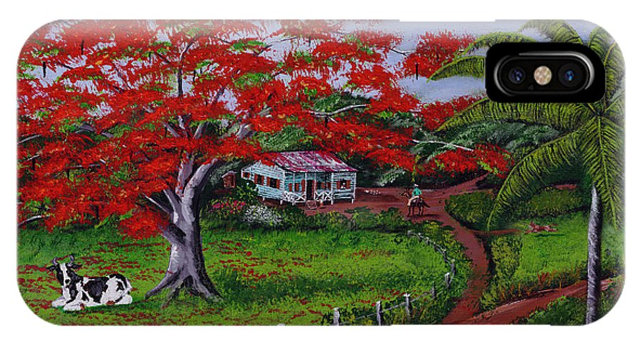 Flamboyant Tree IPhone X Case featuring the painting Poinciana Blvd by Luis F Rodriguez