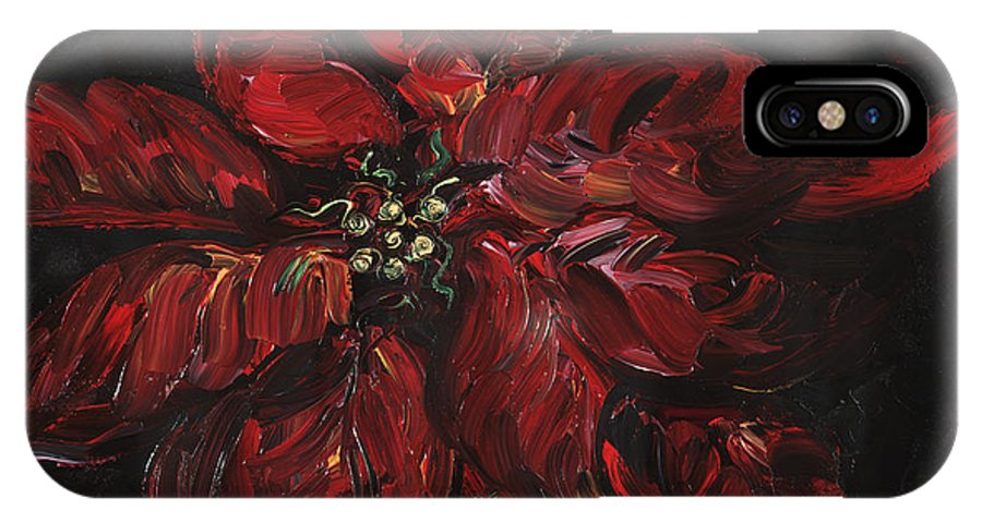 Abstract IPhone X / XS Case featuring the painting Poinsettia by Nadine Rippelmeyer